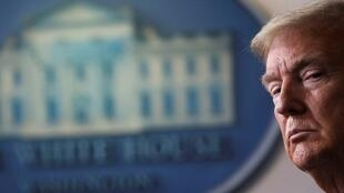 El presidente de Estados Unidos, Donald Trump, durante su comparecencia en la Casa Blanca de este 17 de abril. Washington D. C., Estados Unidos.