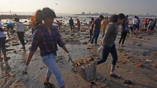 Des volontaires nettoient une plage à Bombay, en Inde.