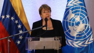 La Alta Comisionada de la ONU para los Derechos Humanos, Michelle Bachelet, ofrece una rueda de prensa tras concluir su visita en Caracas, Venezuela, el 21 de junio de 2019.
