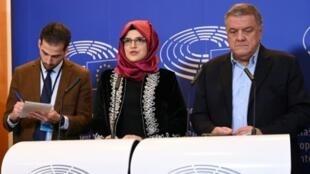 خطيبة خاشقجي خلال مؤتمر صحفي في بروكسل 19 فبراير/شباط 2019