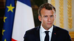Le président français Emmanuel Macron, le 28 mai 2018, à l'Élysée.