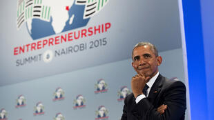 Barack Obama au sommet mondial sur l'entrepeunariat, à Nairobi, au Kenya.
