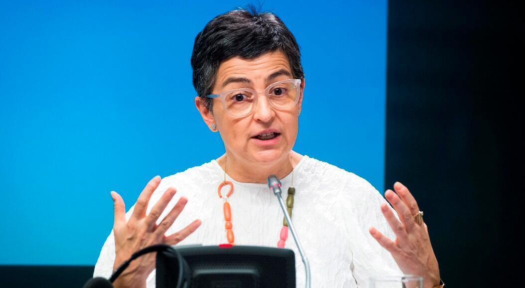 La ministra de Asuntos Exteriores de España, Arancha González Laya, durante una rueda de prensa el  de julio de 2020.