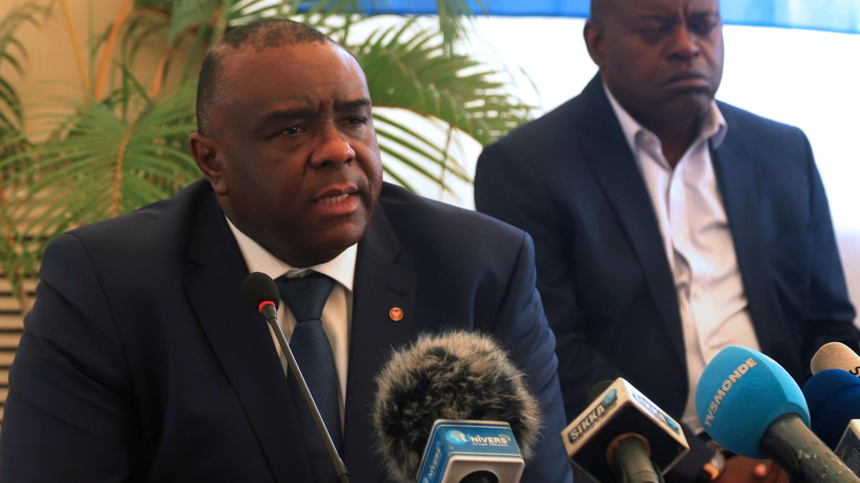 El líder de la oposición de RD del Congo, Jean-Pierre Bemba, del Movimiento para la Liberación del Congo, en una conferencia de prensa en Kinshasa, el 3 de agosto de 2018.