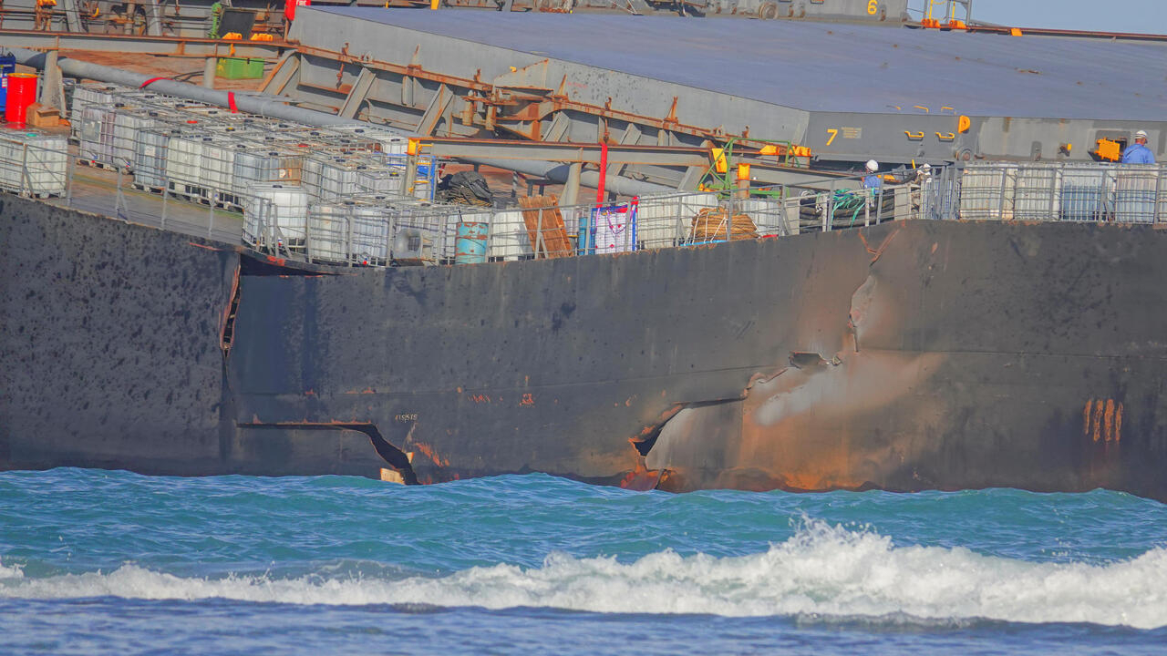 A section of the bulk carrier ship MV Wakashio, belonging to a Japanese company but Panamanian-flagged, ran aground on a reef, is pictured at the Riviere des Creoles, August 13, 2020.