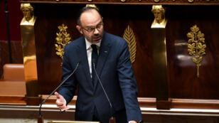 Édouard Philippe s'adressant à l'Assemblée nationale, le 5 décembre 2018.