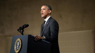Le président américain Barack Obama s'exprime lors de l'inauguration du mémorial des attentats du 11 septembre 2001, le 15 mai 2014, à New York.