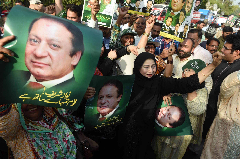 مؤيدو نواز شريف رئيس الوزراء الباكستاني السابق.
