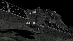 Une impression d'artiste de l'atterrissage de Rosetta sur Tchouri, le 30 septembre 2016.
