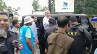 الأمين العام للأمم المتحدة أنطونيو غوتيريس لدى وصوله لمخيم للاجئين الروهينغا ببنغلاديش 2 يوليو 2018