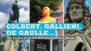 From left to right, statues of Joseph Gallieni, Charles de Gaulle and Jean-Baptiste Colbert.