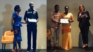 Arona Diouf (2e à gauche) et Nicole Diedhiou (2e à droite), les lauréats de la bourse Ghislaine Dupont et Claude Verlon 2017, le 2 novembre 2017 à Dakar.