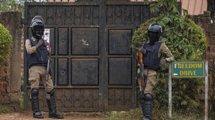 Security forces are seen at the house of Ugandan presidential candidate Bobi Wine in Magere, Uganda on January 16, 2021.