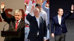 Los tres candidatos principales a ganar las eleciones presidenciales en México, José Antonio Meade, Ricardo Anaya y Andrés Manuel López Obrador. Domingo 18 de febrero de 2018.