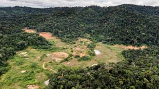 """Sitio del proyecto de la mina Montagne d'Or, la """"Montaña de Oro"""", a unos 125 kilómetros de la ciudad de Saint-Laurent-du-Maroni, en Guayana francesa."""