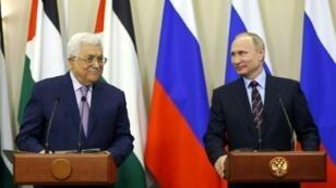 الرئيس الفلسطيني محمود عباس والرئيس الروسي فلاديمير بوتين في مدينة سوتشي الروسية يوم 11 أيار/مايو 2017