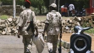 Members of Sudan's paramilitary Rapid Support Forces patrol the capital Khartoum on the second day of a nationwide civil disobedience campaign