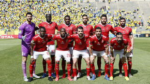 Record eight-time winners Al Ahly of Egypt pose before a CAF Champions League quarter-final against Mamelodi Sundowns of South Africa near Pretoria this season