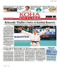 "Majlinda Kelmendi en une du principal quotidien kosovar ""Koha Ditore"""