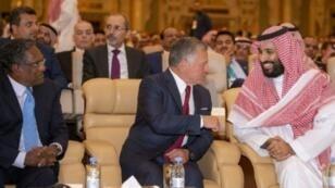 صورة وزعها الديوان الملكي السعودي في 23 تشرين الأول/أكتوبر لولي العهد الأمير محمد بن سلمان خلال المؤتمر الاستثماري في الرياض