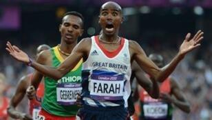 Mo Farah lors de sa victoire aux Jeux olympiques de Londres en 2012