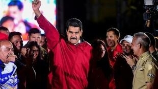الرئيس الفنزويلي يحتفل بنتائج انتخابات الجمعية التأسيسية في كراكاس بتاريخ 31 تموز/يوليو، 2017