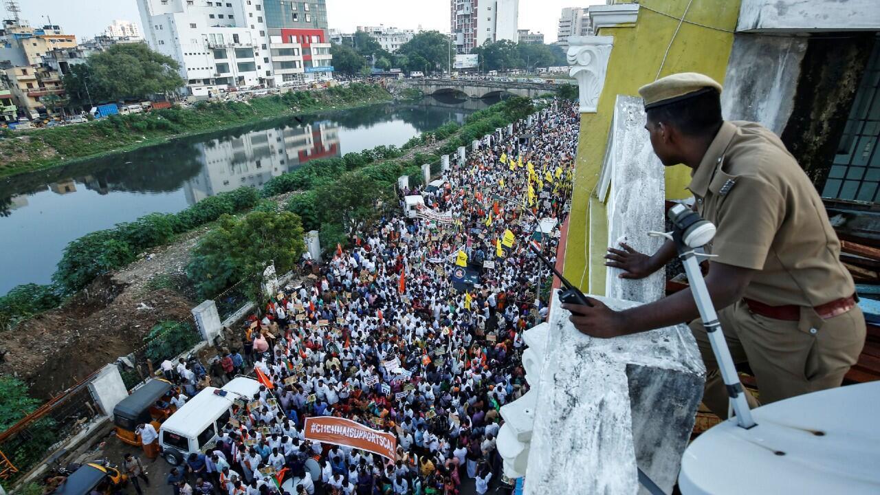 Policia Vigilando protestas india