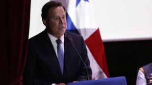 El presidente de Panamá, Juan Carlos Varela, habla ante el Tribunal Electoral durante la convocatoria oficial de las próximas elecciones generales, Ciudad de Panamá. 5 de mayo de 2018.