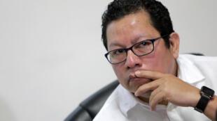 El candidato presidencial y periodista Miguel Mora, durante una rueda de prensa el 13 de diciembre de 2019 en Managua