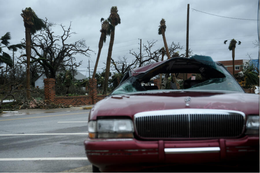 A heavily damaged car in the wake of Hurricane Michael on October 10, 2018, in Panama City, Florida.