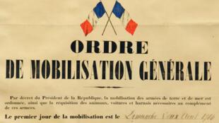 Ordre de mobilisation générale, le 2 août 1914.