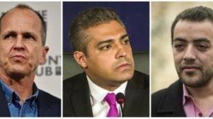 صحافيو الجزيرة الذين كانوا مسجونين في مصر من اليسار بيتر غريست ومحمد فهمي ومحمد باهر