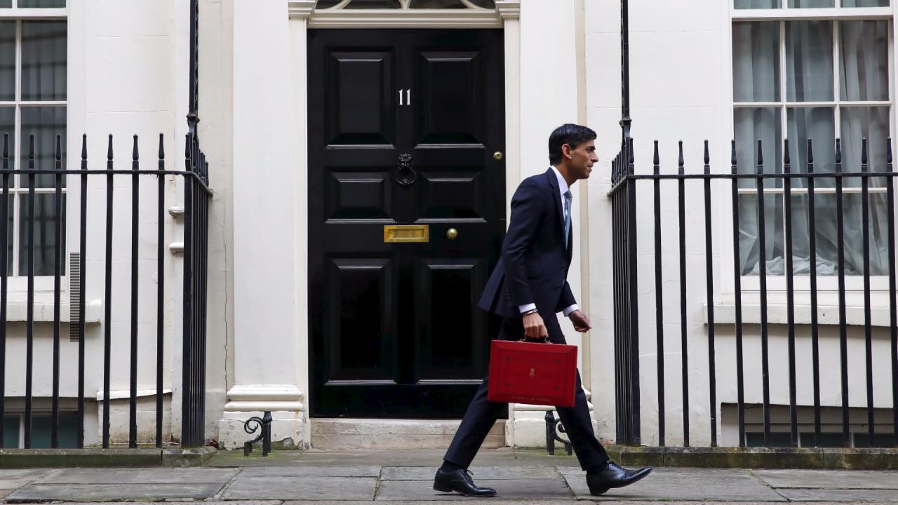 British Finance Minister Rishi Sunak, outside 11 Downing Street.