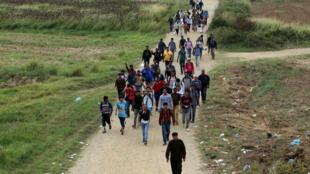 Des migrants marchent près de la frontière entre la Grèce et la Macédoine, le 7 septembre 2015.