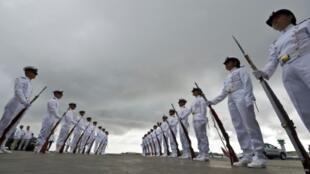عناصر من البحرية الكولومبية في كارتاهينا في 25 أيلول/سبتمبر 2016 .