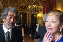 L'ostréiculteur japonais Shigeatsu Hatakeyama et Harumi Osawa, la secrétaire générale de la FFCC.