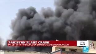 2020-05-22 13:00 Pakistan plane crash: PIA jet with 107 people on board crashes near Karachi