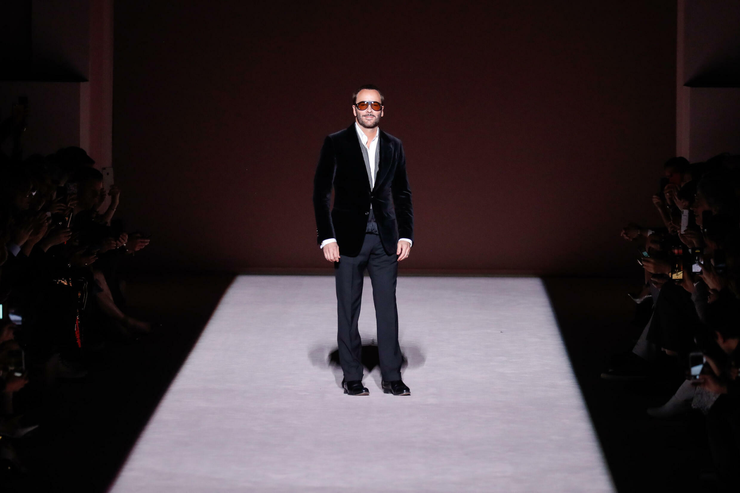 Designer Tom Ford, whose work will close Fashion Week on September 12, 2021, is seen after his February 2019 show in New York
