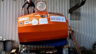 Ex-paratrooper Jean-Jacques Savin, 71, has set off to cross the Atlantic in his barrel-shaped vessel