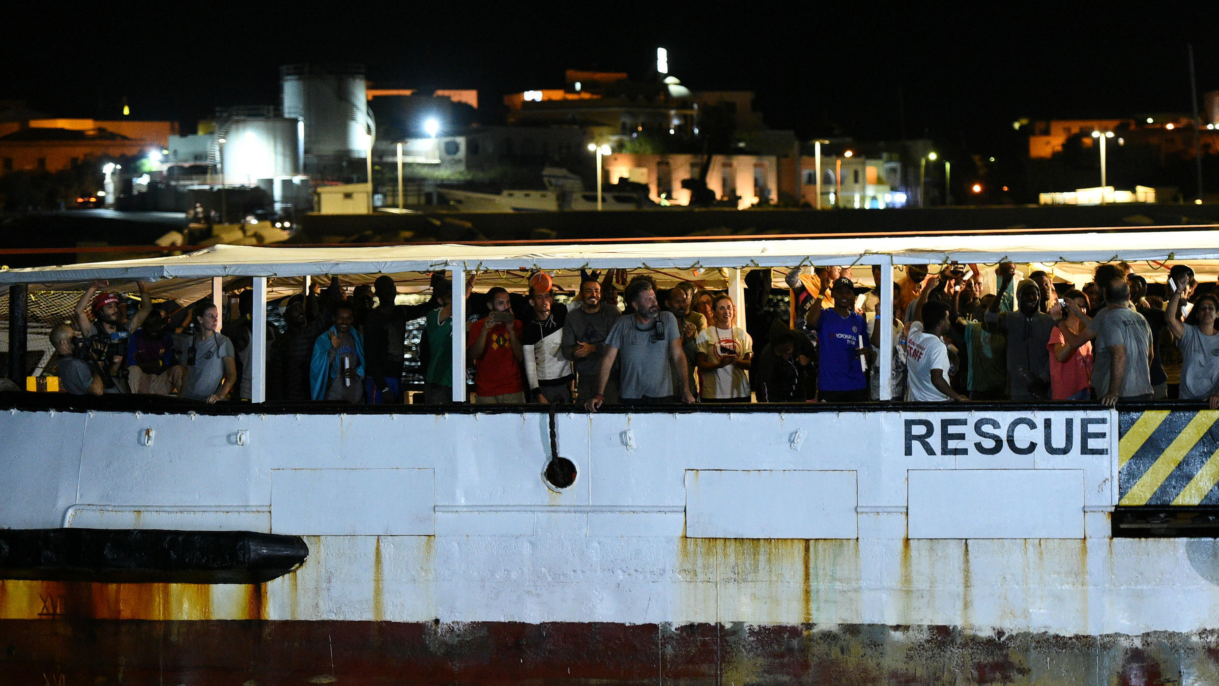 The Spanish rescue ship Open Arms, with dozens of migrants on board, arrives in Lampedusa, Italy, on August 20, 2019.