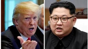 Un montaje que muestra al presidente estadounidense Donald Trump y al líder norcoreano Kim Jong-un en Washignton, EE. UU., el 17 de mayo de 2018, y en Panmunjom, Corea del Sur, el 27 de abril de 2018, respectivamente.