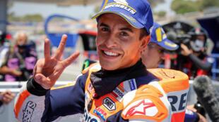 L'Espagnol Marc Marquez (Repsol Honda) après les qualifications du GP d'Espagne de MotoGP, le 18 juillet 2020 à Jerez de la Frontera