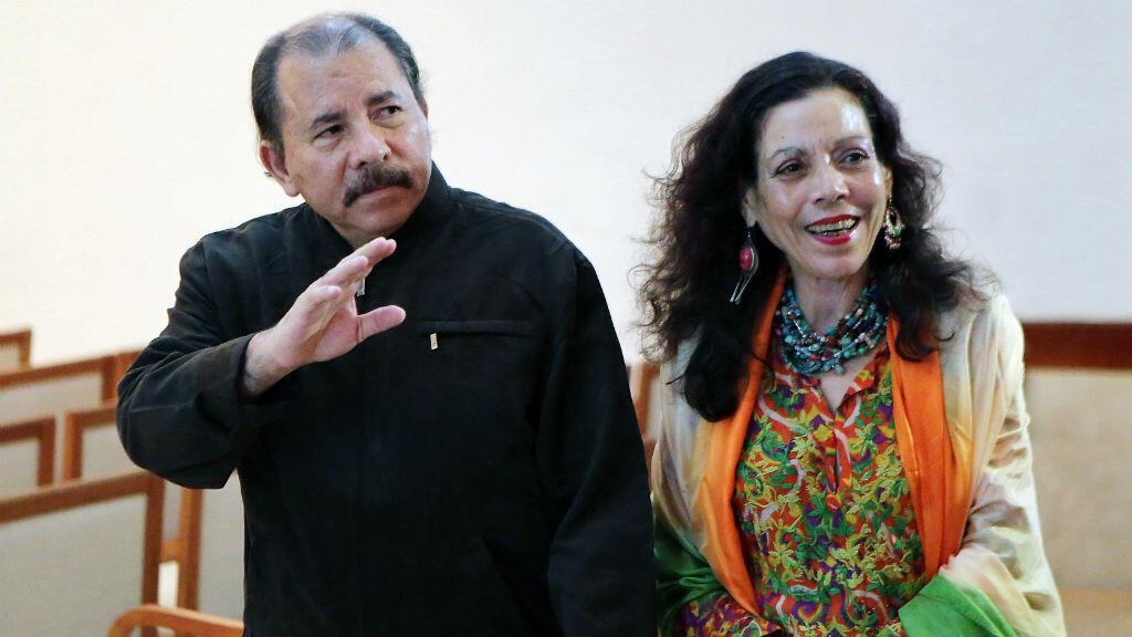 Daniel Ortega et son épouse Rosario Murillo, le 4 décembre 2013, à Managua.