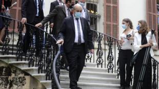 وزير الخارجية الفرنسي جان ايف لودريان في بيروت بتاريخ 23 تموز/يوليو 2020
