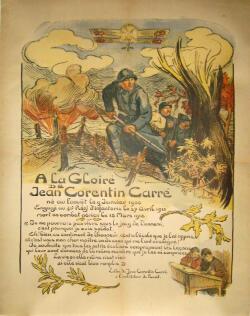Une affiche de 1919 célébrant la gloire du héros disparu auprès des jeunes écoliers de France