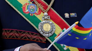 La medalla presidencial, que fue robada después de las celebraciones por la independencia de Bolivia, se ve en esta foto tomada en La Paz, Bolivia el 23 de marzo de 2018.