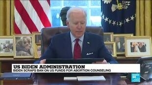 2021-01-29 08:14 Biden scraps ban on US funds for abortion counseling