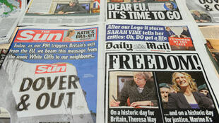 The front pages of the UK daily newspapers reporting on March 29, 2017, the day Prime Minister Theresa May formally triggered the process leading to Britain's exit from the EU.