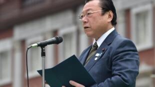 Yoshitaka Sakurada, l'ex-ministre japonais chargé des jeux Olympiques et Paralympiques de Tokyo en 2020, à Tokyo le 30 mars 2019