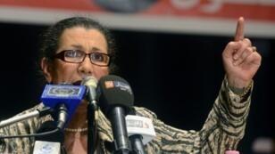 لويزة حنون زعيم حزب العمال الجزائري في تيبازة (شمال) 08 أبريل/نيسان 2014.